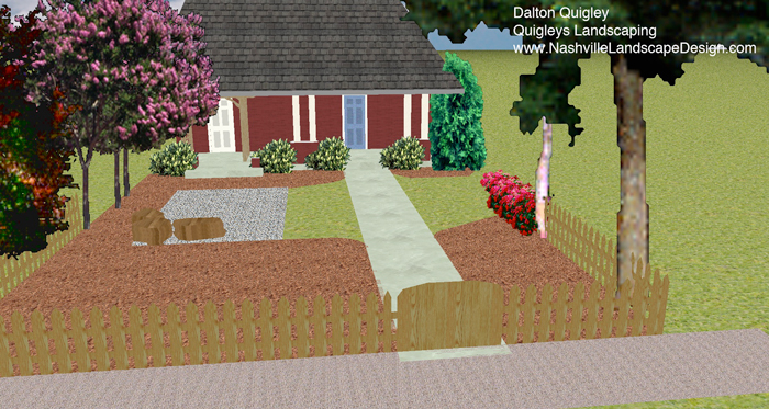 Dalton Quigley Landscape Designer of Nashville and Brentwood TN Front Yard Knockout Roses Viburnum Otto Luykens Crape Myrtles, and gravel area with boulders.