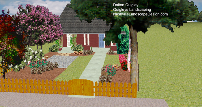 Nashville Landscape Design Company Image shows view from streetwith darker fence and grass area expanded.