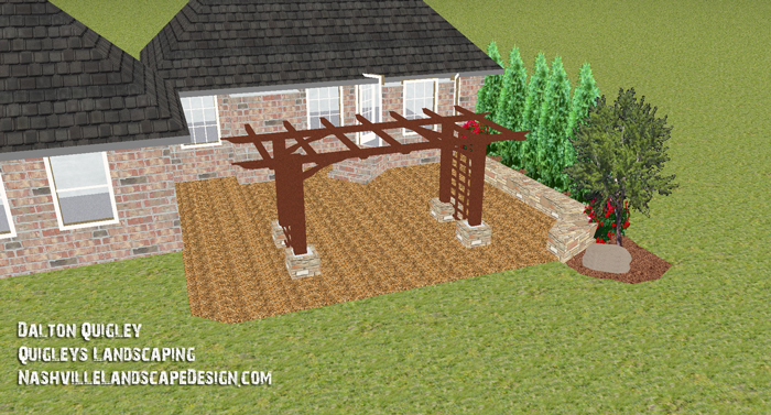 Arbor change to 10 feet by 20 feet on this NolensvilleTN Landscape Design.