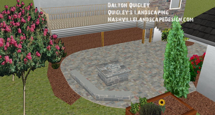 This image has a paver patio with fire pit and stone wall, we perform Landscape design in Franklin TN.