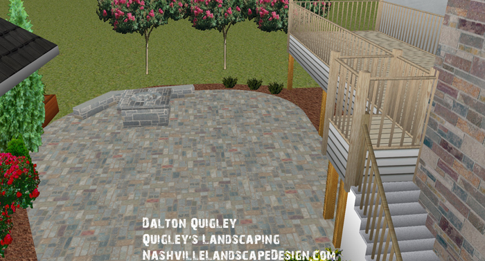 In this landscape design image you can see crape myrtles, a paver patio, and a fire pit. This is from a landscape design we performed for a Nashville client.