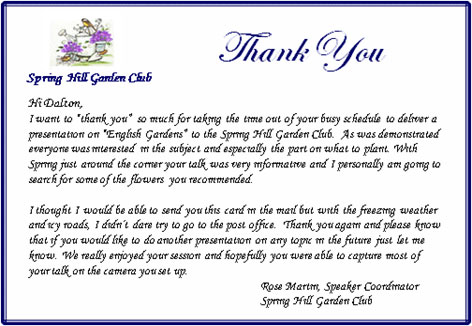 Thank you letter from The Spring Hill Garden Club.