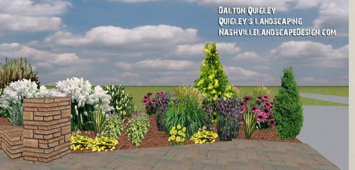 Thompsons station upscale back yard privacy nashville for Full sun perennial garden designs