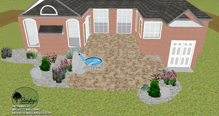 Patio-boulder-waterfall-xeriscape