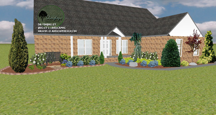 Front yard landscape design spring hill tn nashville for Springhill designs