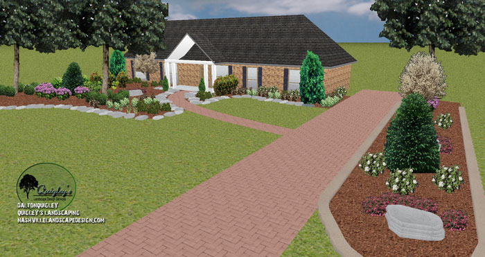 Franklin tn front yard landscape design nashville for Garden design nashville tn