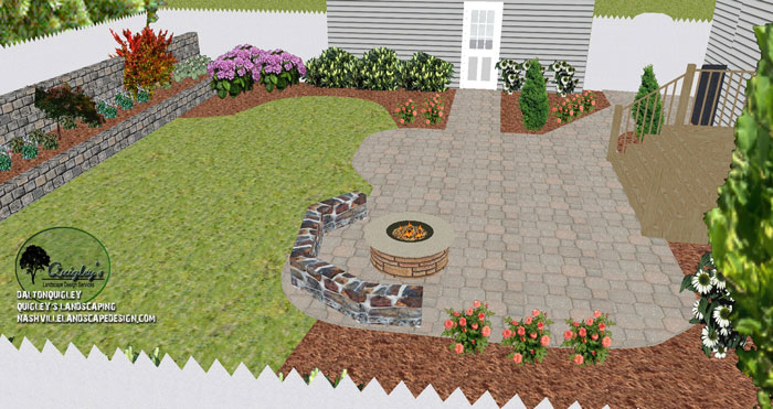 Fire Pit Patio Landscape Design Nashville TN