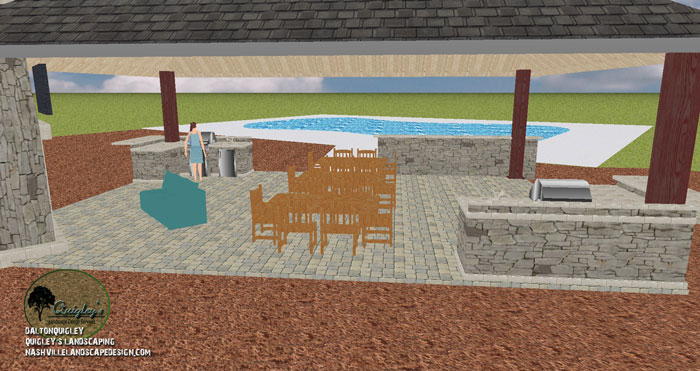Cabana grill area design nashville landscape design for Pool design nashville