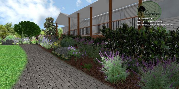 Brentwood-paver-walkway, butterflies and bee garden