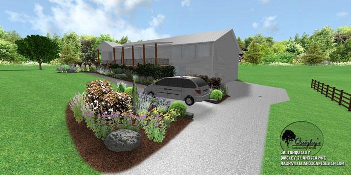 Parking-area-landscape-design, butterflies and bee garden