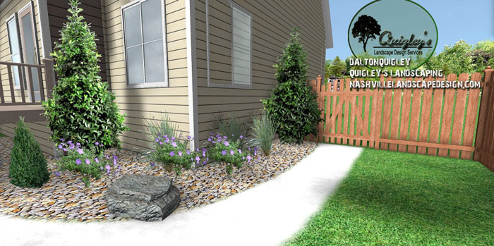 side-xeriscape, Nashville, Brentwood, Franklin, Spring Hill TN, Quigley's Landscaping and Landscape Design Service contractors.