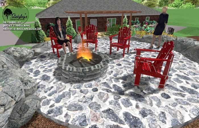 Fall stone fire pit area10