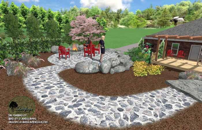 Fall stone fire pit area13